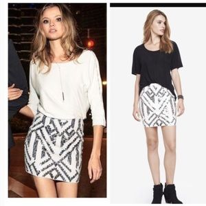Express White mini skirt w/ black & Silver Sequins